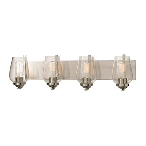 Russell Lighting Bordeaux Vanity 4-Light Wall Sconce - Brushed Chrome - 8-in x 31-in