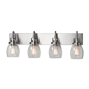 Russell Lighting Dayton Vanity 4-Light Wall Sconce - Brushed Chrome - 11-in x 31-in