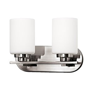 Russell Lighting Vanity 2-Light Wall Sconce - Brushed Chrome - 9-in x 12-in