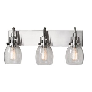 Russell Lighting Vanity 3-Light Wall Sconce - Brushed Chrome - 11-in x 22-in