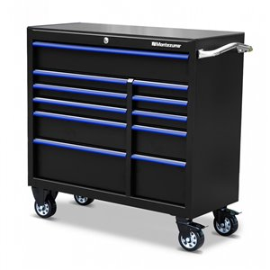 Montezuma Garage Drawer Cabinet - 11-Drawer - Black and Blue - 41-in x 18-in