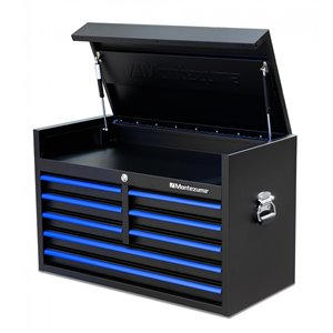 Montezuma Garage Tool Chest - 8-Drawer - Black and Blue - 36-in x 18-in