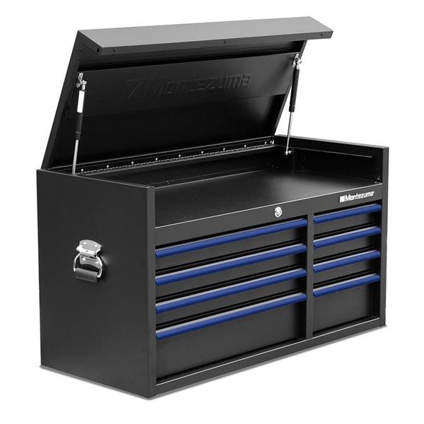 Armoire à outils pour garage Montezuma 8 tiroirs, noir et bleu,  41 po x 18 po