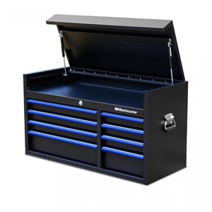 Montezuma Garage Tool Chest - 8-Drawer - Black and Blue - 41-in x 18-in