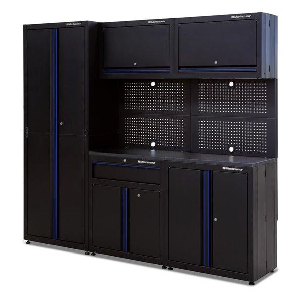 Armoire haute de rangement pour garage Montezuma à 2 portes, noir, 30.5 po x 18 po x 81 po