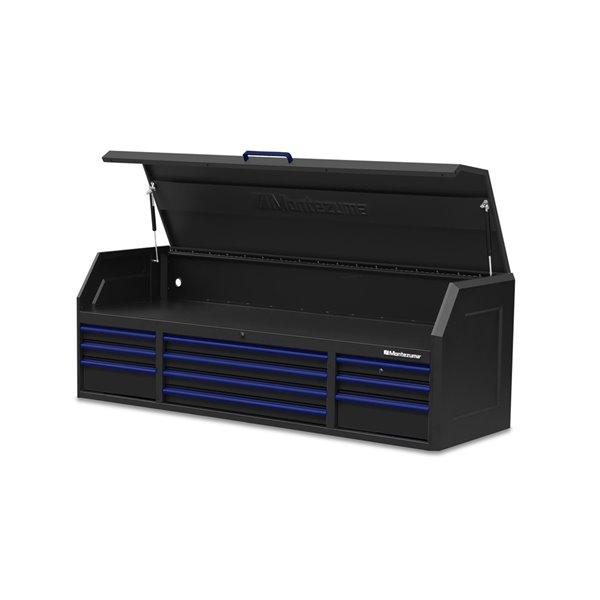 Coffre à outils Montezuma avec prises USB et d'alimentation, 10 tiroirs, 72 po x 24 po