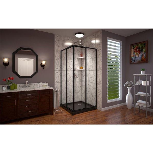 DreamLine Cornerview Framed Sliding Shower Door with Base - Satin Black - 36-in x 36-in x 72-in