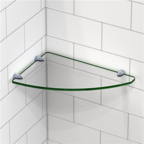 DreamLine Corner Glass Shelf for Shower - Satin Black - 12-in x 8-in
