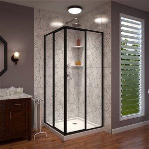 DreamLine Cornerview Framed Sliding Shower Door in Satin Black with Base in White - 36-in x 36-in x 72-in