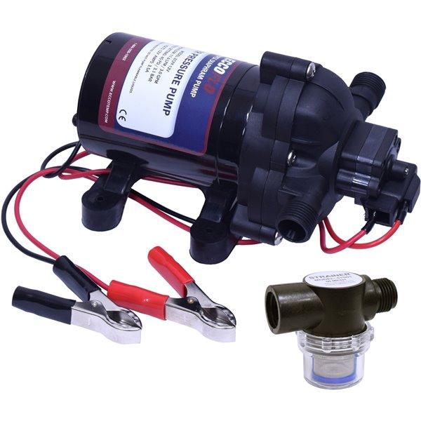 Pompe à eau EccoFlo Eccotemp 12 volts avec filtre
