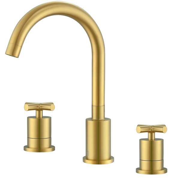 Ancona Ava Series Widespread Cross Handle Bathroom Faucet in Brushed Gold finish