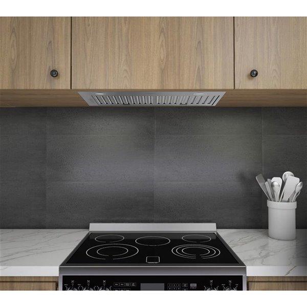 Hotte de cuisine encastrée en acier inoxydable de Ancona, 600 PCM, 28 po