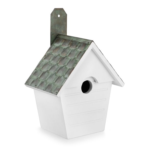 Good Directions Classic Cottage Bird House - Verdigris Pure Copper Roof - White
