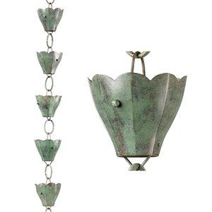 Good Directions Tulip Rain Chain - 8.5-ft - Blue Verde Copper