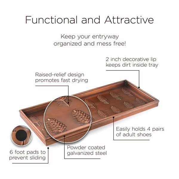 Good Directions Pine Cones Multi-Purpose Boot Tray - 34-in x 14-in x 2-in - Copper