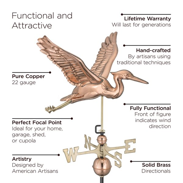 Good Directions Blue Heron Weathervane with Roof Mount - 38-in - Copper