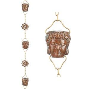 Good Directions Buddha Rain Chain - 8.5-ft - Pure Verdigris Copper