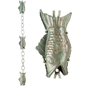 Good Directions Fish Rain Chain - 8.5-ft - Blue Verde Copper