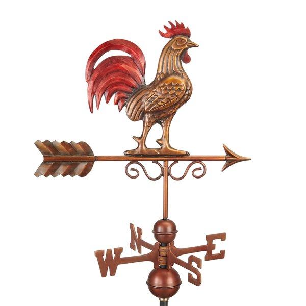 Good Directions Rooster Weathervane - 36-in - Verdigris Copper
