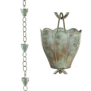 Good Directions Crocus Rain Chain - 8.5-ft - Blue Verde Copper