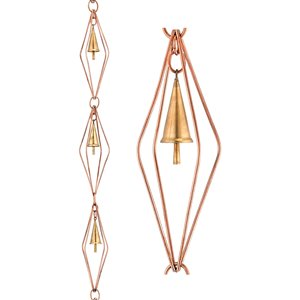 Good Directions Diamond Rain Chain with Bells - 8.5-ft - Pure Copper