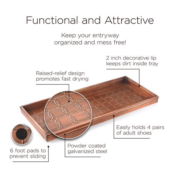 Good Directions Circles Multi-Purpose Boot Tray - 34-in x 14-in x 2-in - Copper