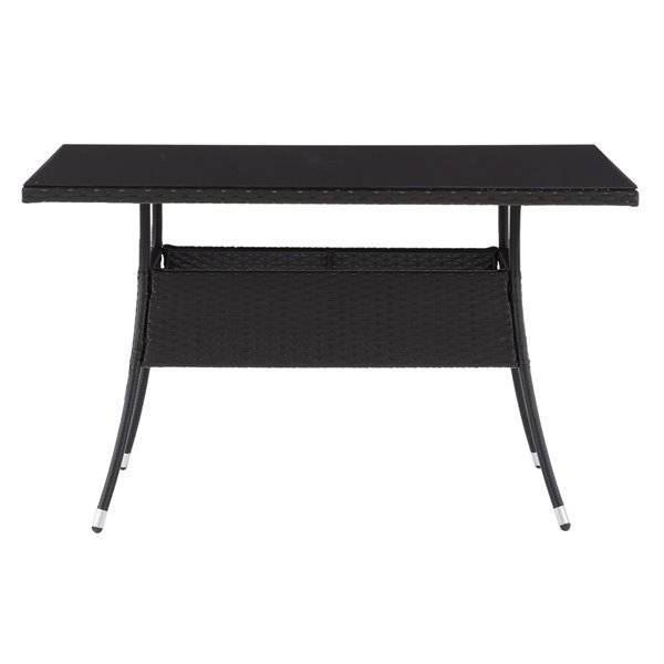 CorLiving Parksville Rectangle Patio Dining Table - 31-in x 47-in - Black