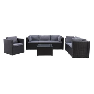 CorLiving Parksville Patio Sectional Set - Resin Wicker - Black/Ash Grey - 7-Piece