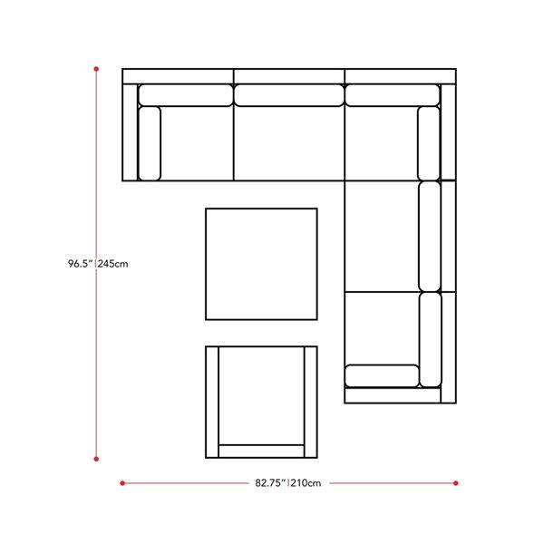 Ensemble sectionnel pour patio Parksville de CorLiving, noir/gris cendré, 7 pièces