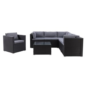 CorLiving Parksville Patio Sectional Set - Black/Ash Grey - 7-Piece