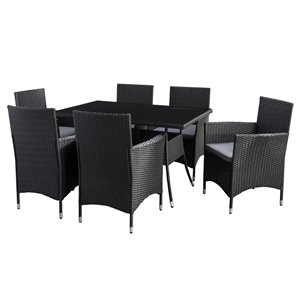 CorLiving Parksville Rectangle Patio Dining Set - Resin Wicker Rattan - Black/Ash Grey - 7-Piece