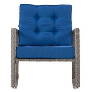 Fauteuil berçant pour terrasse Parksville de CorLiving, coussins bleus, fini gris