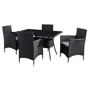 CorLiving Parksville Rectangle Patio Dining Set - Resin Wicker Rattan - Black/Ash Grey - 5-Piece