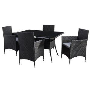 Ensemble à diner extérieur Parksville de CorLiving, table rectangulaire, noir/gris cendré, 5 pièces