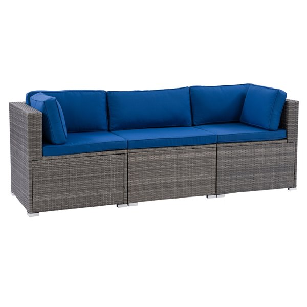 CorLiving Parksville Patio Sectional Set - Resin Wicker - Grey/Oxford Blue - 3-Piece