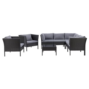 CorLiving Parksville Patio Sectional Set - Black/Ash Grey - 8-Piece