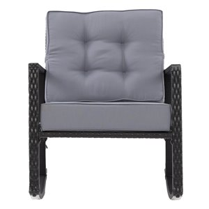CorLiving Parksville Patio Rocking Chair - Ash Grey Cushions - Black Frame