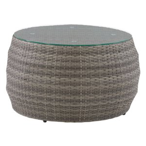 CorLiving Parksville Round Patio Coffee Table - 29-in - Blended Grey