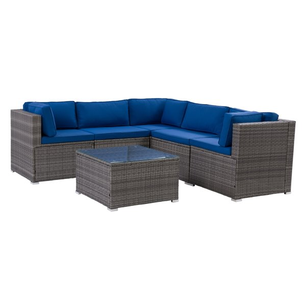 CorLiving Parksville Patio Sectional Set - Grey/Oxford Blue - 6-Piece