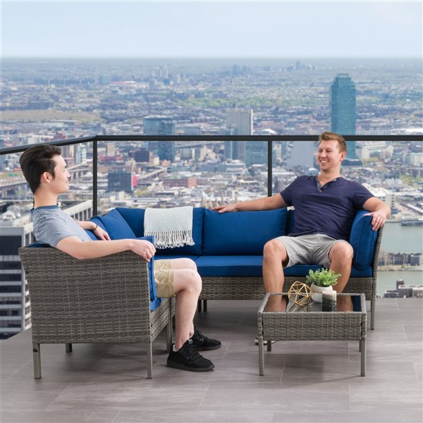 CorLiving Parksville Patio Sectional Set - Rattan Wicker - Grey/Oxford Blue - 6-Piece