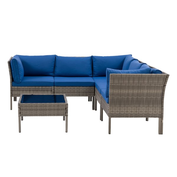 Ensemble de canapé sectionnel pour patio Parksville de CorLiving, gris/bleu, 6 pièces