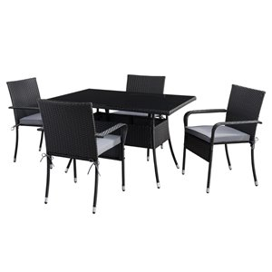 CorLiving Parksville Patio Dining Set - Resin Wicker Rattan - Black/Ash Grey - 5-Piece