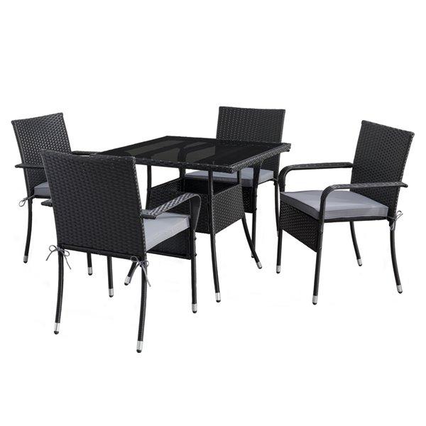 Ensemble à diner extérieur carré Parksville de CorLiving, noir/gris cendré, 5 pièces