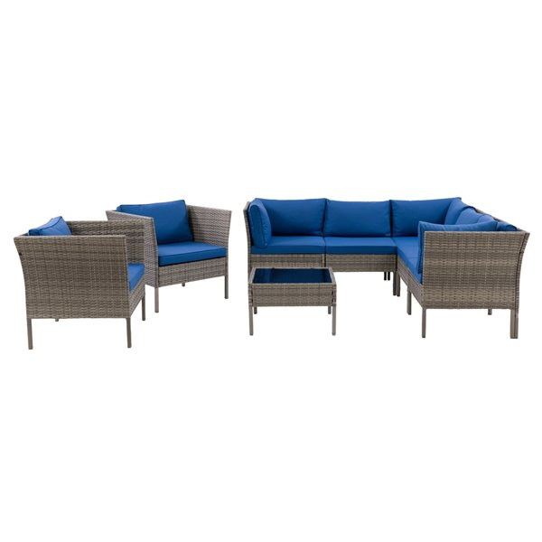 CorLiving Parksville Patio Sectional Set - Grey/Oxford Blue - 8-Piece