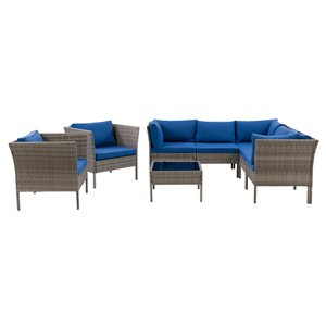 CorLiving Parksville Patio Sectional Set - Grey/Oxford Blue - 8-Piece