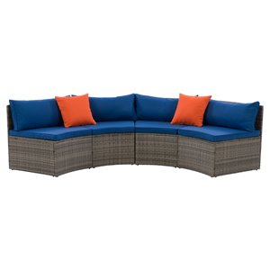 CorLiving Parksville Patio Sectional Set - Resin Wicker - Grey/Oxford Blue - 2-Piece