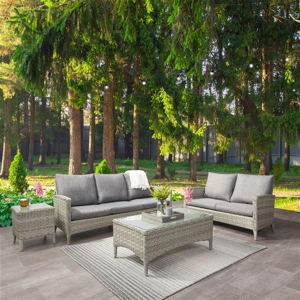 CorLiving Parksview Conversation Patio Set - Grey - 4-Piece