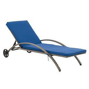 CorLiving Parksville Patio Lounge Chair  - Oxford Blue Cushions - Grey Frame