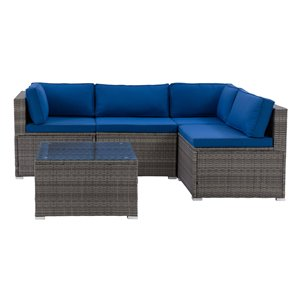 CorLiving Parksville Patio Sectional Set - Grey/Oxford Blue - 5-Piece