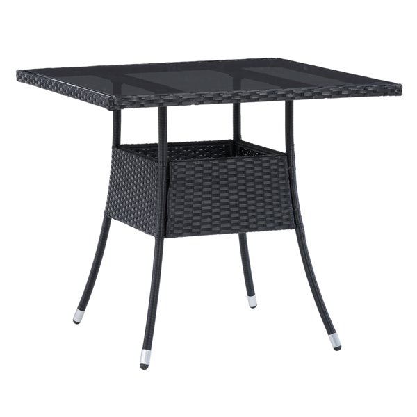 CorLiving Parksville Square Patio Dining Table - 31-in x 31-in - Black
